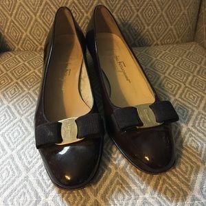 Salvatore Ferragamo Vara in Brown Patent Leather 8